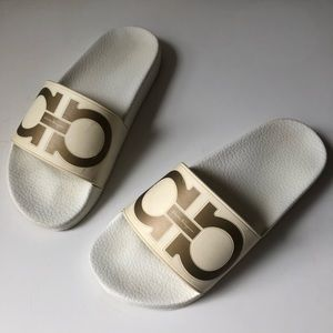 Ferragamo Groove Gancini Slide Pool Sandals